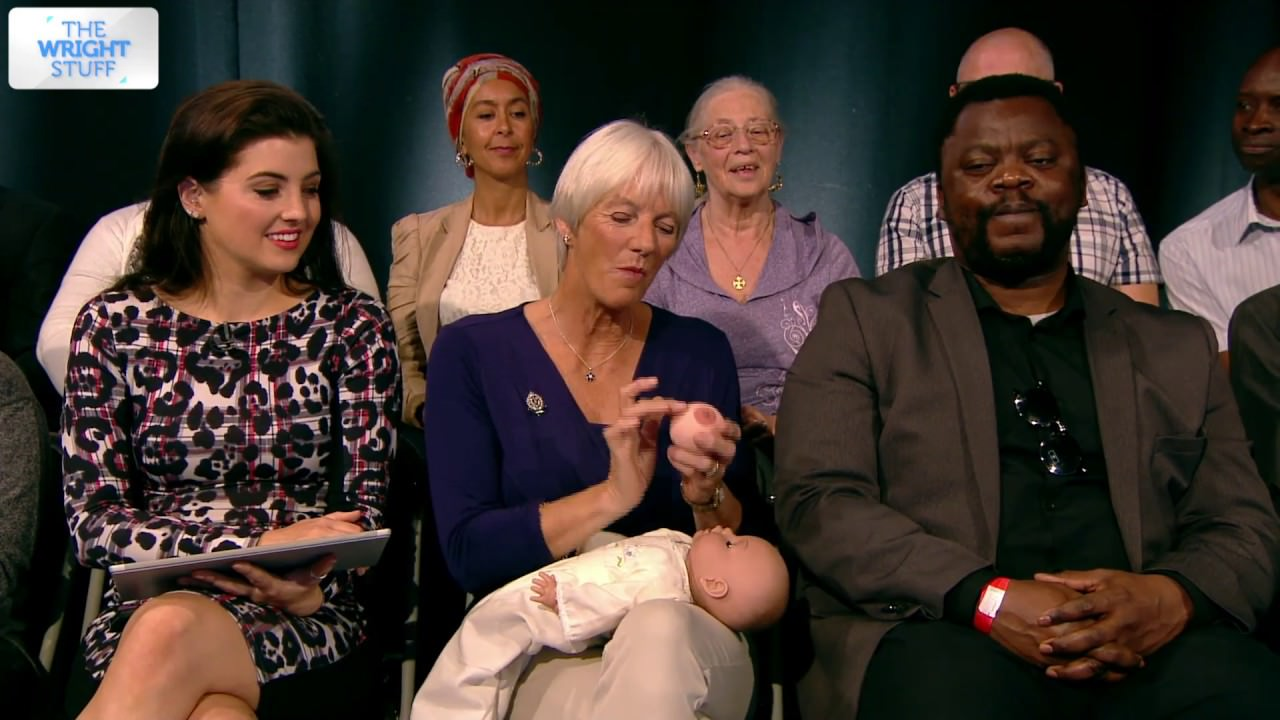 Clare Byam-Cook demonstrating how to breast feed on The Wright Stuff TV show